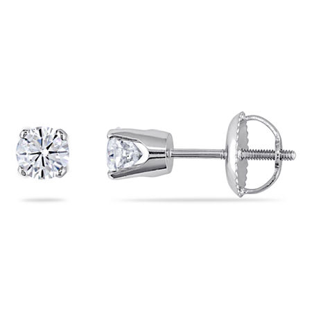 1/2 CT. T.W. Genuine White Diamond 14K White Gold 4mm Stud Earrings, One Size , No Color Family