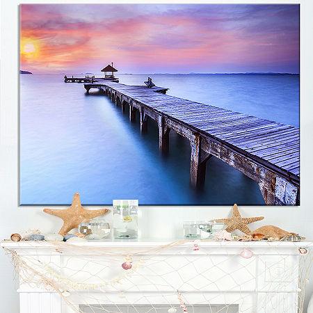 Designart Purple Seas And Long Wooden Pier Canvas Art, One Size , Purple
