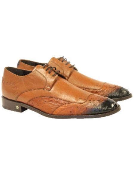 Men's Faded Cognac Handmade Vestigium Genuine Ostrich Derby Shoes