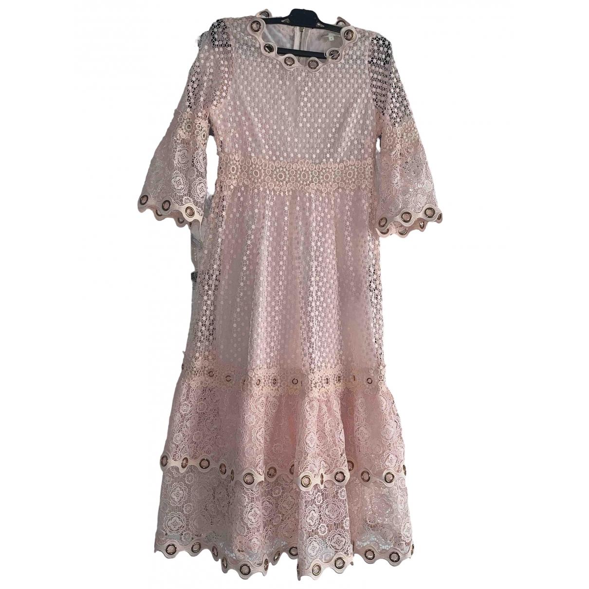 Maje - Robe   pour femme en dentelle - rose