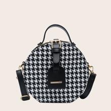 Buckle Decor Houndstooth Pattern Satchel Bag