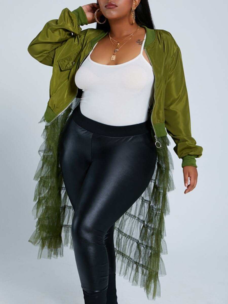LW Lovely Casual Patchwork See-through Army Green Long Coat