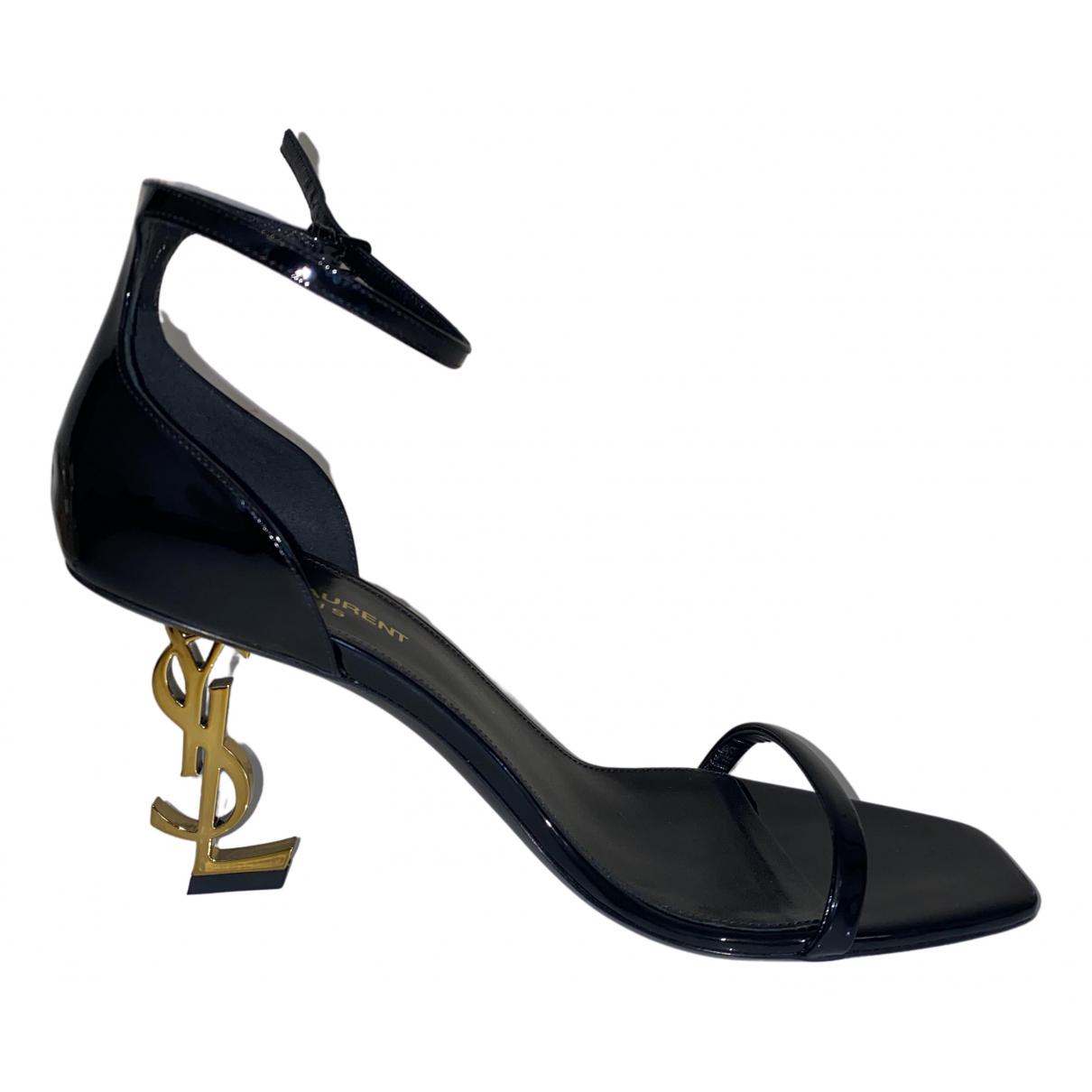 Saint Laurent Opyum Black Patent leather Sandals for Women 38 EU