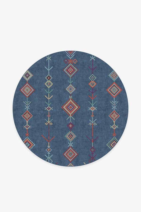 Washable Rug Cover   Kenza Ocean Blue Rug   Stain-Resistant   Ruggable   6' Round