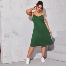 Vestidos Tallas Grandes Liso Verde Casual