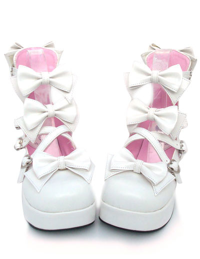 Milanoo Zapatos Lolita Dulce Tacones Pony Platform Lazo