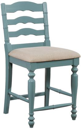 Marino Collection BS004BLU01U Bar Height Stool with Turned Legs  Curved Back Design  Footrest Support  Rubberwood Materials  Solid Wood Frame and