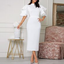 Exaggerate Layered Ruffle Sleeve Top and Split Hem Skirt Set