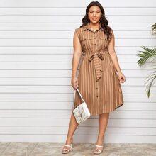 Vestido estilo camisa con lazo de rayas verticales - grande