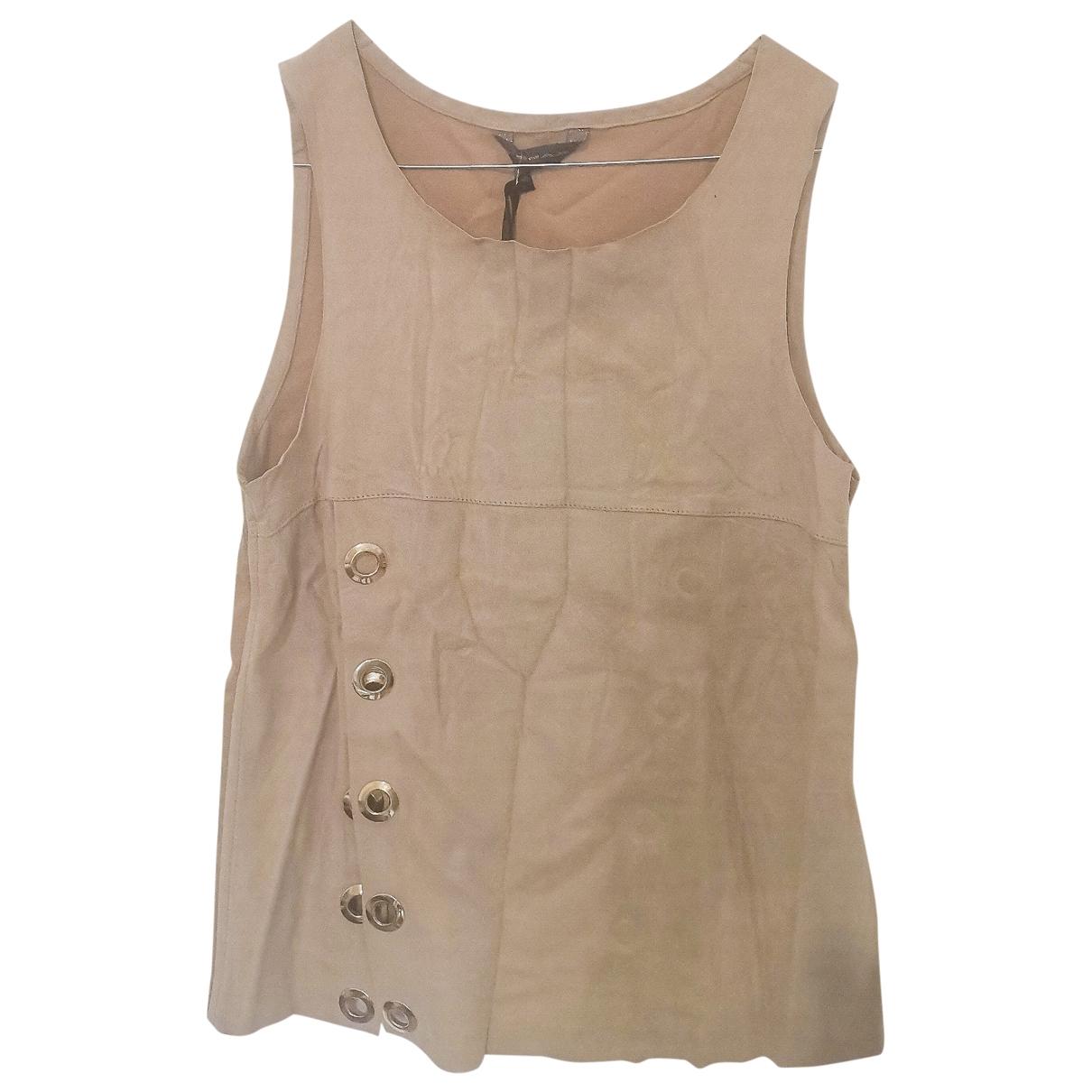 - Top   pour femme en cuir - beige