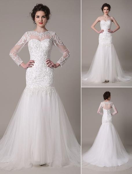 Milanoo Vestido de novia escote palabra de honor de encaje