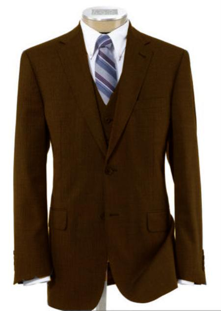 Mens 2 Button Wool Vested Dark Brown Suit with Pleated Trousers
