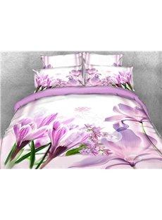 Vivilinen 3D Crocus and Magnolia Printed Cotton 4-Piece Bedding Sets/Duvet Covers