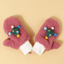 Maedchen Handschuhe mit Tannenbaum Dekor
