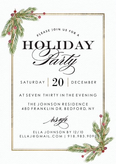 Christmas & Holiday Party Invitations 5x7 Cards, Premium Cardstock 120lb with Rounded Corners, Card & Stationery -Holiday Invite Garland Corners