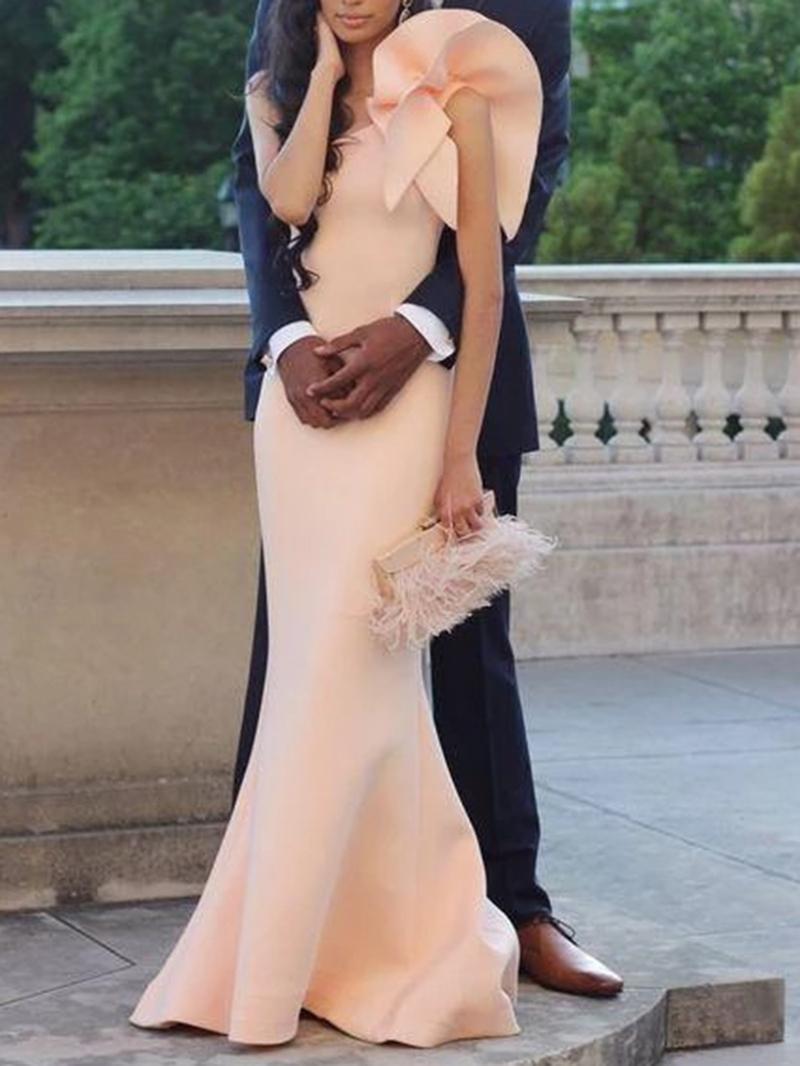 Ericdress Ruffles Cap Sleeve One Shoulder Evening Dress
