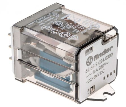Finder , 24V dc Coil Non-Latching Relay 3P-NO, 16A Switching Current Flange Mount, 3 Pole