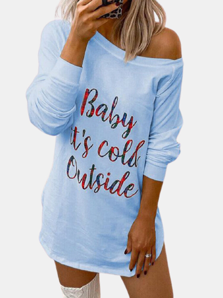Letter Printed O-neck Long Sleeve Casual T-Shirt For Women