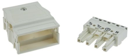 Wago 770 Series, Female 4 Pole 8 Way Distribution Block, with Strain Relief, Rated At 25A, 400 V, White