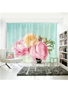 3D Waterproof Polyester Romantic Flowers Pattern Digital Printing Curtain