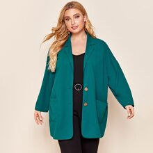 Plus Notched Collar Patch Pocket Single Breasted Blazer
