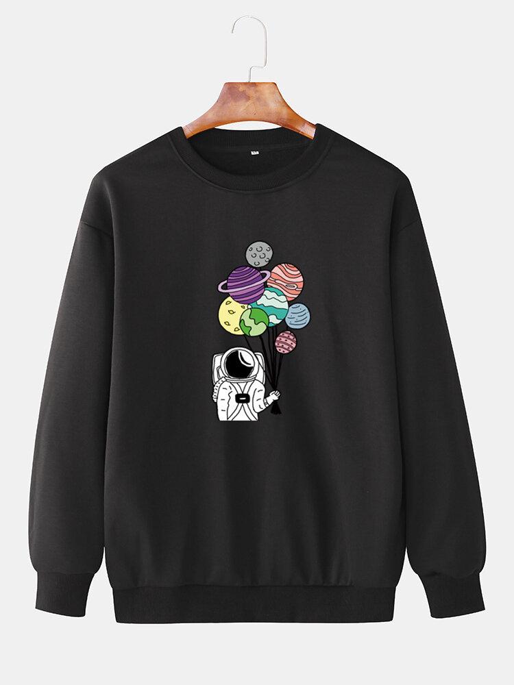 Mens Cute Astronaut Print Crew Neck Casual Loose Sweatshirt