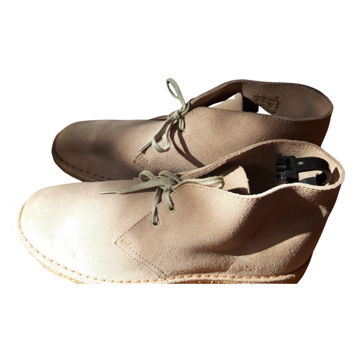 Clarks - Bottes.Boots   pour homme en suede - beige