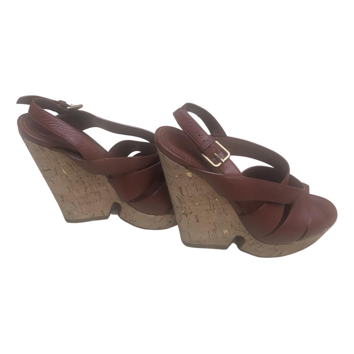 Yves Saint Laurent N Brown Leather Sandals for Women 37 EU