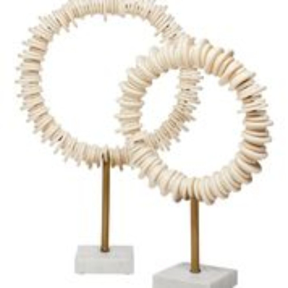 Set of 2 Cream Resin Arena Ring Sculptures 19