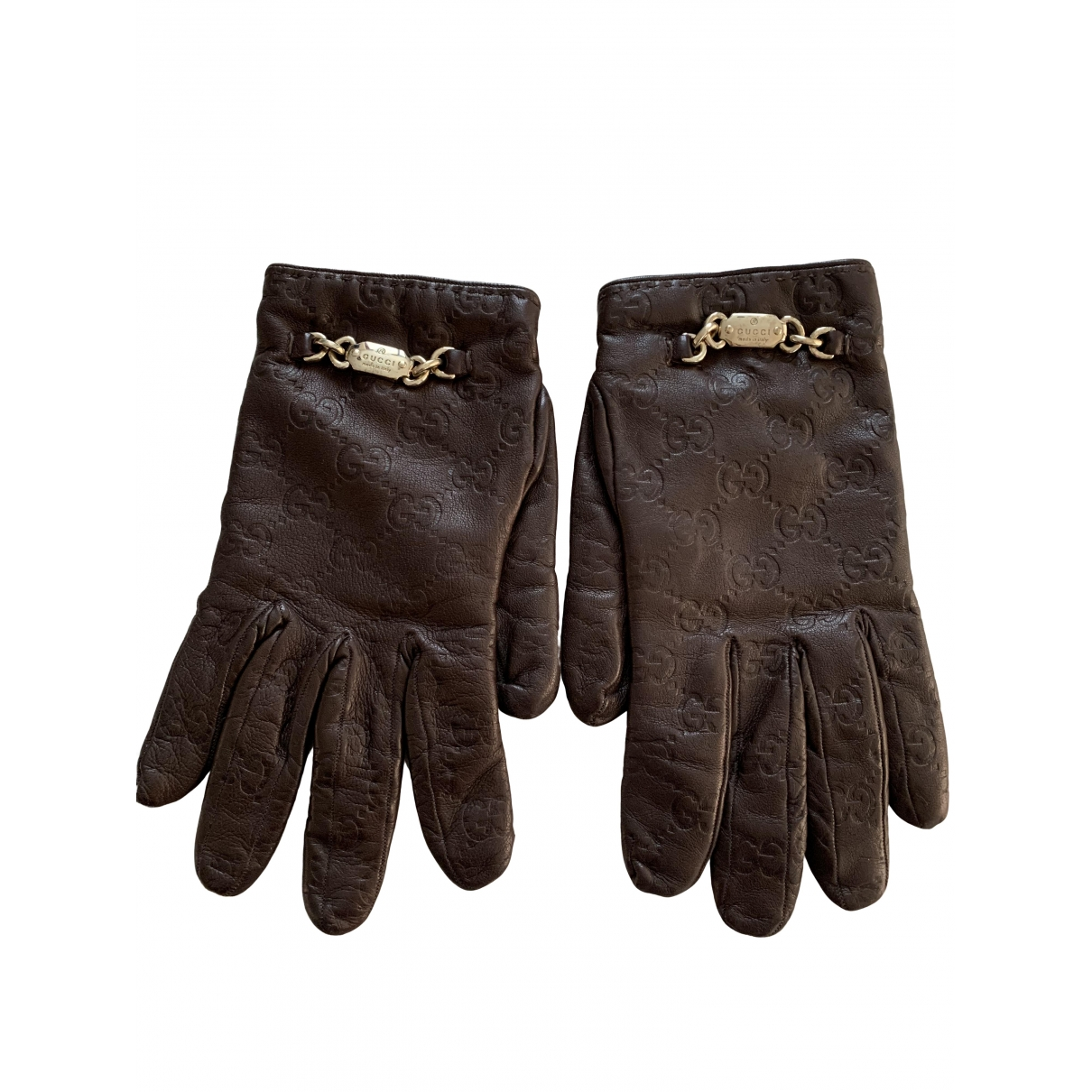 Gucci \N Brown Leather Gloves for Women 7.5 Inches