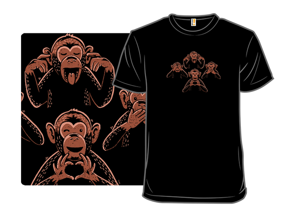 Three Monkeys And A Lover T Shirt