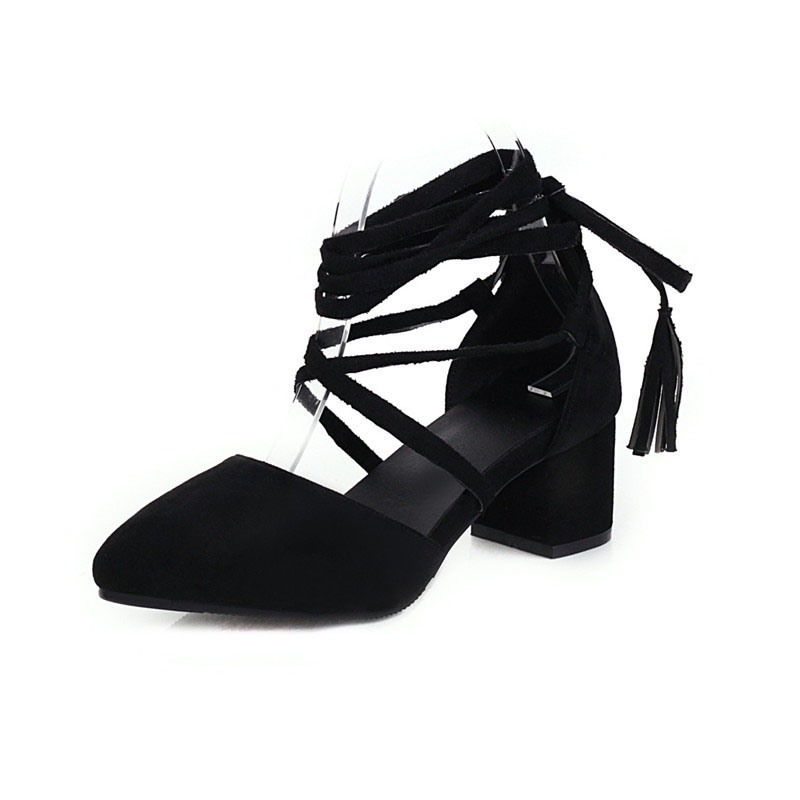 Ericdress Lace-Up Pointed Toe Heel Covering Casual Sandals