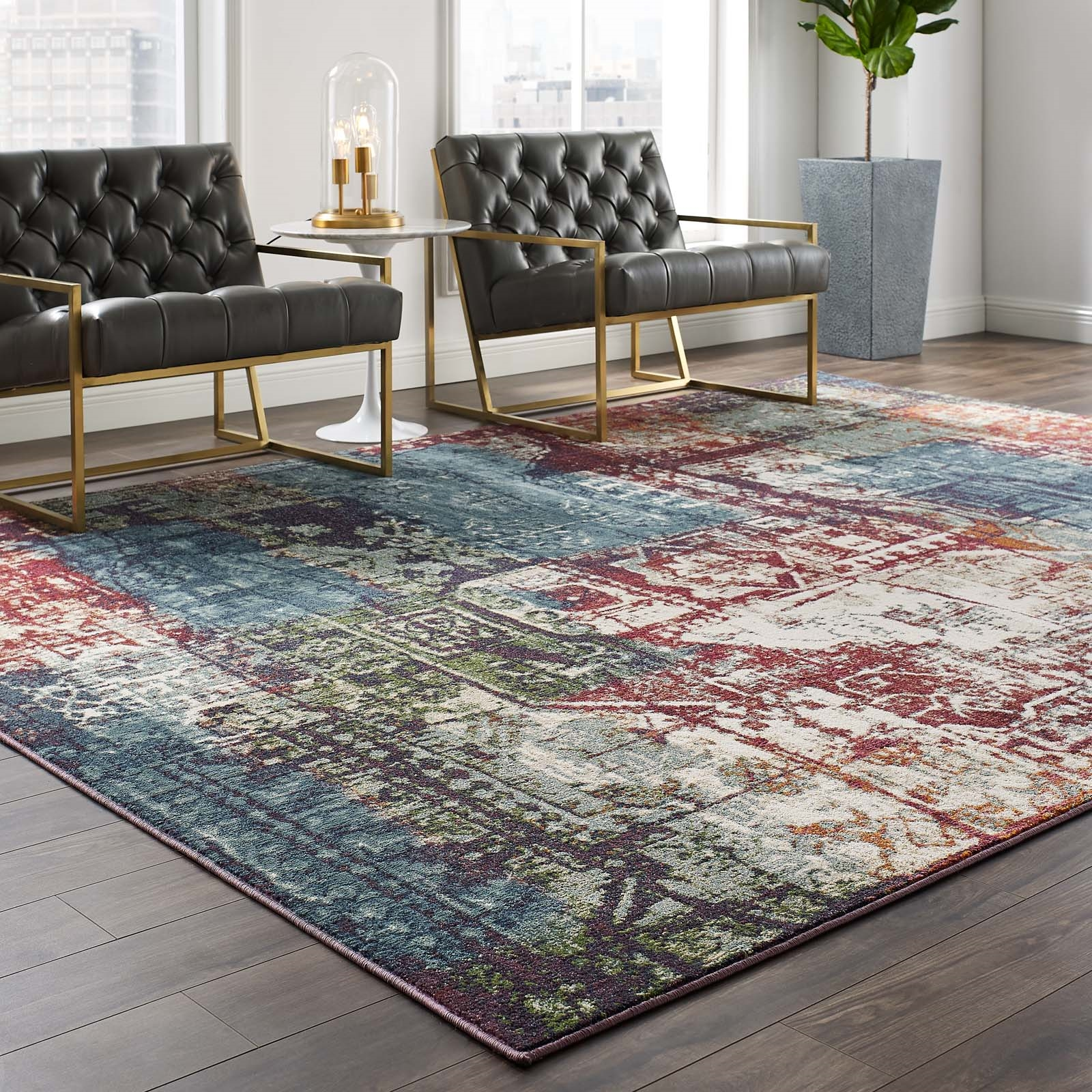 Tribute Elowen Contemporary Modern Vintage Mosaic 8x10 Area Rug in Multicolored