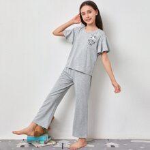 Girls Butterfly Sleeve Patch Pocket Top & Palazzo Pants PJ Set