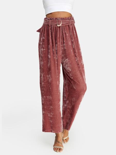 Yoins Pink Lace-up Design High Waist Wide Leg Pants