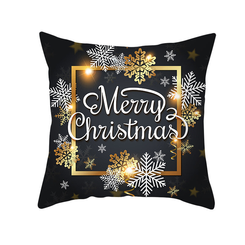 Golden Black Christmas Series Microfiber Cushion Cover Home Sofa Winter Soft Throw Pillow Case
