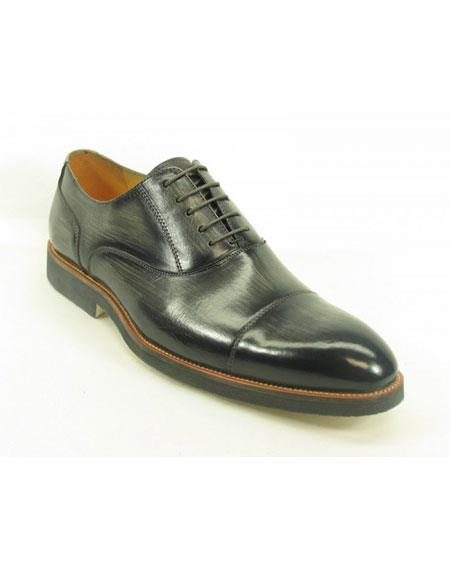 Men's Grey Fashionable Carrucci Genuine Leather Oxford Shoes