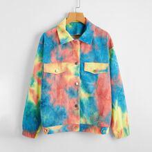 Kord Jacke mit Taschen Klappe und Batik