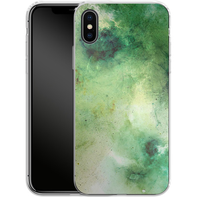 Apple iPhone X Silikon Handyhuelle - Abstract Galaxy - Green von Barruf
