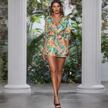 Tropical Print Knot Hem Blouse With Shorts