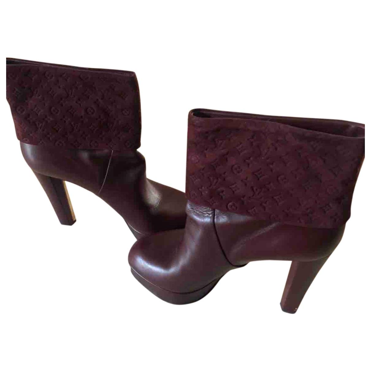 Louis Vuitton - Boots   pour femme en cuir - bordeaux