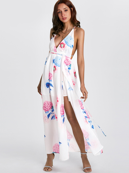 Yoins Sexy V-neck Random Floral Print Open Back Slit Dress