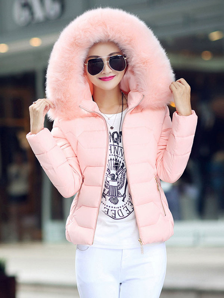Milanoo Puffer Coats White Embellished Collar Faux Fur Zipper Long Sleeves Outerwear