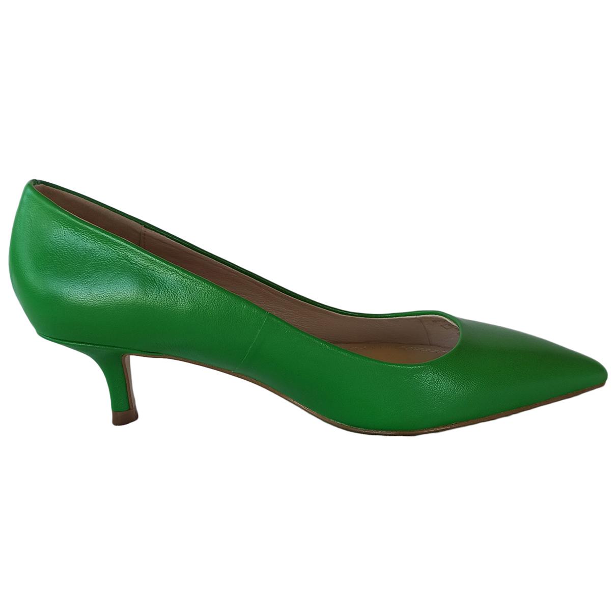 Zara - Escarpins   pour femme en cuir - vert