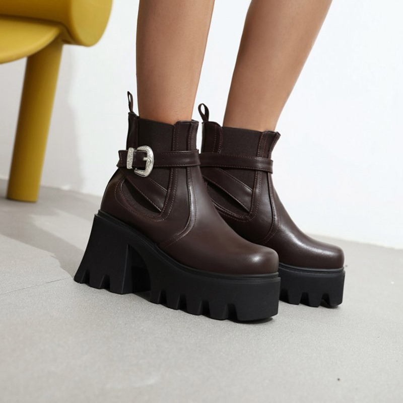 Ericdress Hasp Chunky Heel Plain Buckle Boots