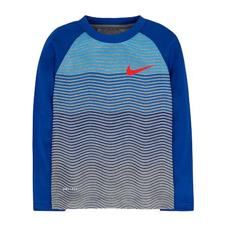 Nike Little & Big Boys Long Sleeve T-Shirt, 7 , Gray