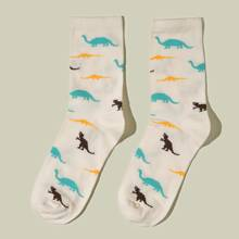Calcetines con patron dinosaurio