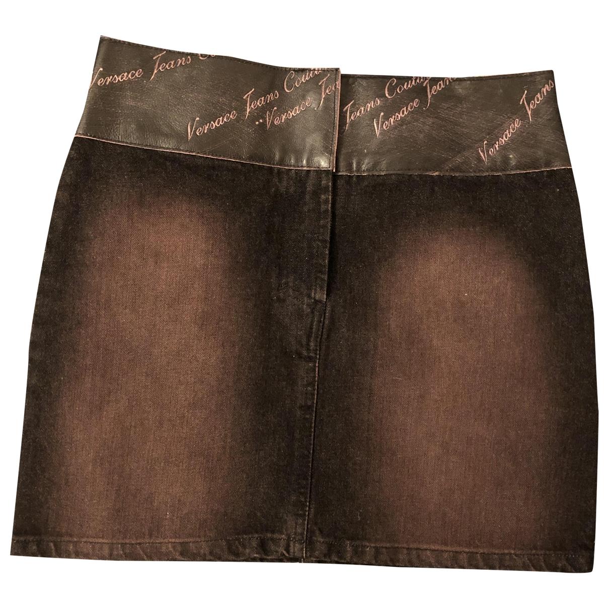 Versace Jeans \N Black Denim - Jeans skirt for Women 42 IT