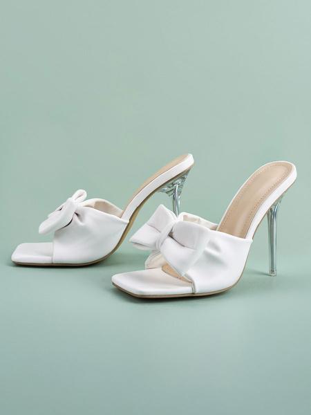 Milanoo Women\'s Sandal Slippers Blue Stiletto Polyurethane Peep Toe Summer Slingbacks Sandal Slippers