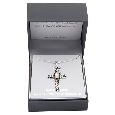 Sparkle Allure Marcasite Pure Silver Over Brass 18 Inch Cable Cross Pendant Necklace, One Size , No Color Family